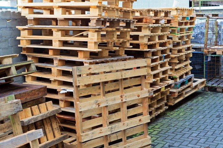 old crates piled