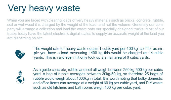Prices for Very Heavy Waste Removal
